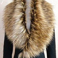 Beige Brown Ivory Shaggy Faux Fur Shrug Shawl Wrap Collar Scarf