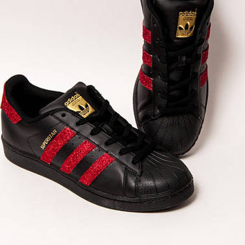 Glitter - Red Over Black Adidas Superstars II Fashion Sneakers Shoes