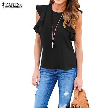 ZANZEA Women Blouse 2018 Summer Sexy O Neck Sleeveless Ruffles Shirts Casual Slim Solid Blusas Plus Size Tee Tops