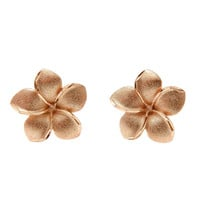 12.5MM 14K SOLID PINK ROSE GOLD HAWAIIAN PLUMERIA FLOWER EARRINGS POST STUD