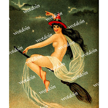 Printable Flying Witch Vintage Download Broom Halloween Witch Hat Nude Lithograph Instant Image Transfer Full Size 8 by 10