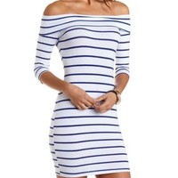 Striped Off-the-Shoulder Bodycon Dress - White Combo