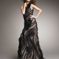 Carmen Marc Valvo Couture - One-Shoulder Applique Lace Gown - Bergdorf Goodman