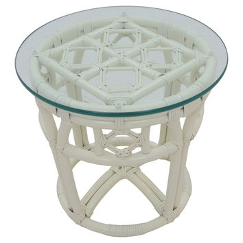 Ficks Reed Glass-Top Side Table