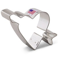 Ann Clark Heart with arrow Cookie Cutter - 3.75 Inches - Tin Plated Steel