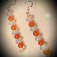 Moonstone earrings, topaz earrings, moonstone beads, dangle earrings, Halloween colors, moonstone dangle earrings, rare orange topaz beads