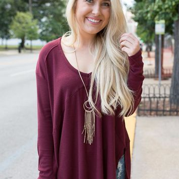 V-Neck Seam Detail Thermal - Burgundy - FINAL SALE