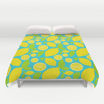 Fresh Lemons Duvet Cover by Ariel Lark