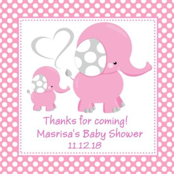 Pink Polka Dot Elephant Baby Shower Stickers