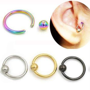 ac PEAPO2Q SaYao 2 Piece Stainless Steel Captive Hoop Rings CBR Eyebrow Tragus Nose Closure Body Piercings Jewelry Helix