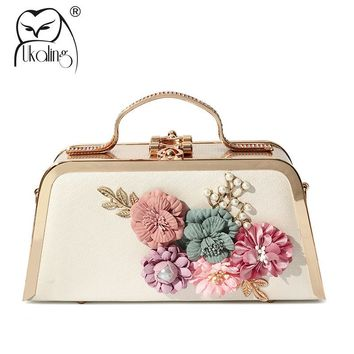 UKQLING 2018 Floral Minaudiere Day Clutches Lady Dinner Party Hand Bag Evening Shoulder Bags Bridal Clutch Tote Female Sac