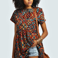 Abbie Tribal Print Woven Button Back Smock Top