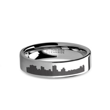 Fort Worth City Skyline Cityscape Engraved Tungsten Ring