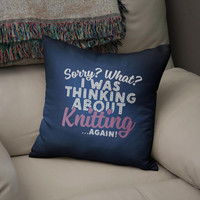 Knitting Gifts, Thinking About Knitting - Faux Suede Cushion Cover, Gifts For Knitting Enthusiasts, Knitting Cushion Cover,