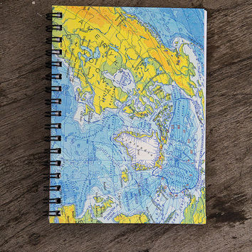 Map notebook kraft paper notebook pocket notebook journal jotter writing travel notebook recycled atlas spiral bound back to school