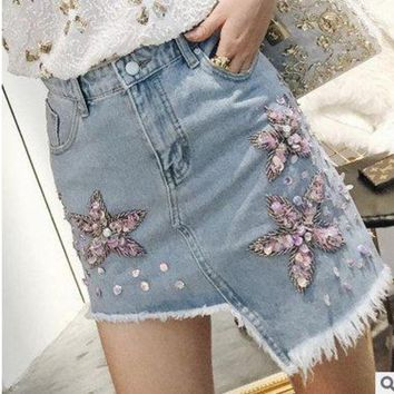 DCC3W New Casual Women Summer Denim Jeans Skirt Ladies Long Jean girl Skirts fashion lady skirts