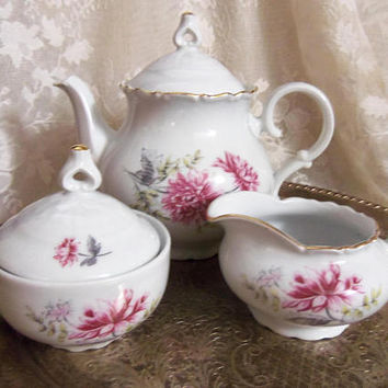 Pink Mums Teapot, Sugar Bowl, Creamer Set, M Z Czechoslovakia, Moritz Zdekauer, Altrolau Porcelain, Cottage Kitchen Decor, Vintage 1940s