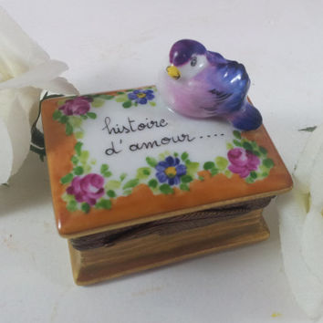 Limoges Hinged Box The History of Love Bird on Book