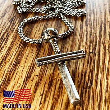 Baseball Bat And Ball Cross On Curb Chain Necklace Antique Pewter