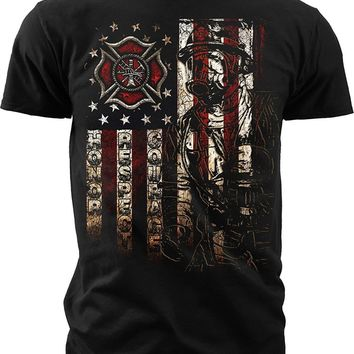 Firefighter American Flag T-Shirts - Men's Crew Neck Novelty Tee