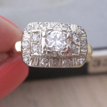 Vintage Old European Cut Diamond Engagement Alternative Ring Right Hand Ring Cluster Ring 14k Gold Art Deco Promise Cocktail Dinner Ring