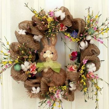 Burlap, Bunny and Florals Decorative Door Wreath (23 inch)