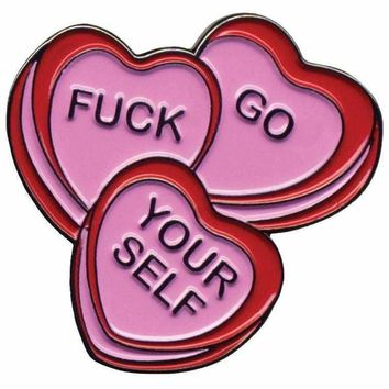 Sourpuss Candy Hearts Pin
