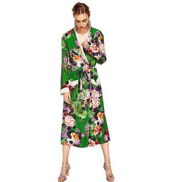 Floral Print Blouse Shirt Long Kimono Women Sashes Pocket Kimono Cardigan Elegent Vestido Longo Long Sleeve Summer Blouse Blusas