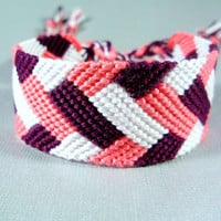 Pink, White, and Plum Handmade Friendship Bracelet - Knotted Bracelet in Braid Pattern