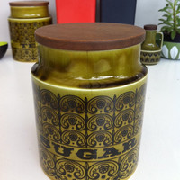 Fabulous, green Hornsea Scroll sugar canister!! Rare! ReTrO KiTcHeN!!