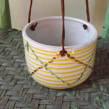Hanging Pot, Leather Strap Garden Planter, Vintage Ceramic Bowl, Plaid Green and Yellow Flower Pot, Mod Garden Porch Pot, Made in Japan