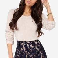 A Lace for Everything Navy Blue Lace Shorts