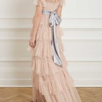 SCALLOP TULLE GOWN