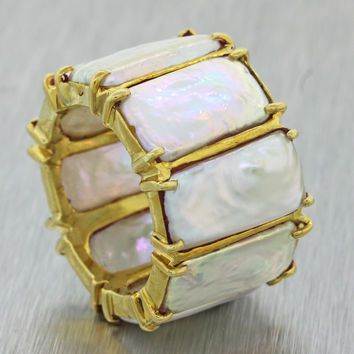 1970s Vintage Estate 18k Solid Yellow Gold Mother of Pearl Eternity Band Ring