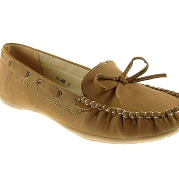 Women's Rocus Moccasin Slip On Fashion Flats LL-03 Brown