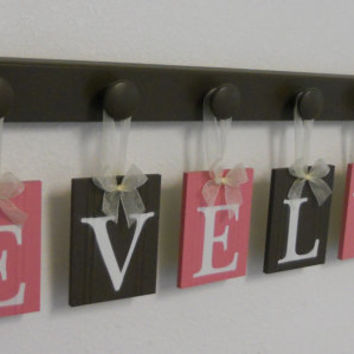 Baby Girl Nursery Wall Decorations Letter Sign, Wooden Baby Name Personalized Hanging Letters 6 Wood Hangers Pink and Brown - EVELYN