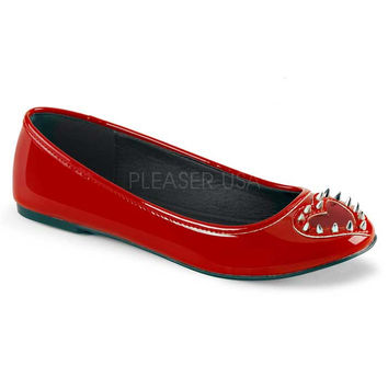 Demonia Red Vegan Heart Stud Flats