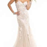 Miranda Ivory Evening Prom Ball Dress Strapless Long Lace Appliques Gown Size 4-14 (8)