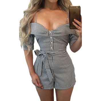 Women's Classy White Striped Business Casual Belted Summer Romper Jumpsuits