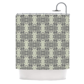 "Mydeas ""Illusion Damask Silver"" Gray Shower Curtain"