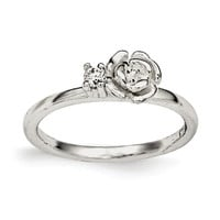 Sterling Silver Clear CZ Rose Kid's Ring