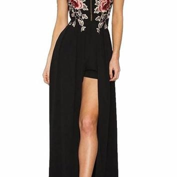Embroidered Cross Back Slit Maxi Dress