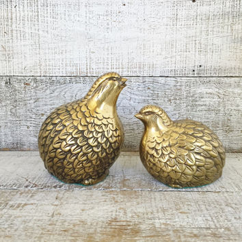 Quail Figurines Large Brass Quail Figurines Pair of Mid Century Birds Statutes Vintage Bird Collectible Woodland Bird Ceramic Paperweight