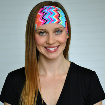 Workout headband, Yoga headband, Womens wide boho headband, Running headband, Fitness headband, Ladies stretch fabric headband