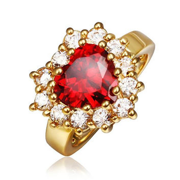 Gold Plated Ruby Red Jewel with Crystal Covering Ring