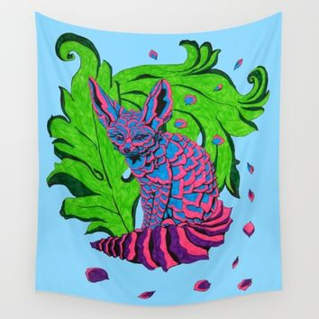 Floral Fennec Wall Tapestry by Rachel Hoffman