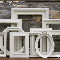 Shabby Chic Decor / Upcycled Distressed Picture Frame Set / Arlington Heights Collection