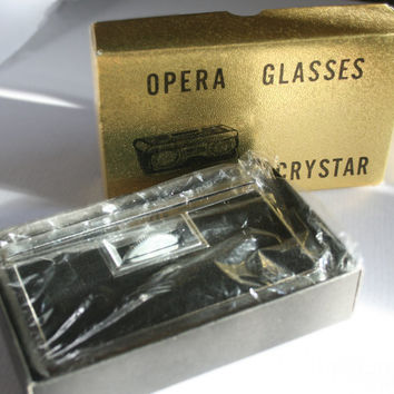 Opera Glasses pocket Ladys 1950s vintage Retro Theater Binoculars Handbag Japan steel case black optics Anniversary Gift