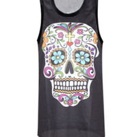 Colorful Skull Print Sheer Mesh Tank Top