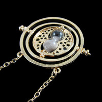 1PC Hot Sale 18inch Time Turner potter Necklace Hermione Granger Rotating Spins Gold Hourglass